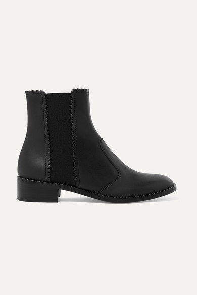 See by Chloe Scalloped Leather Chelsea Boots - Black