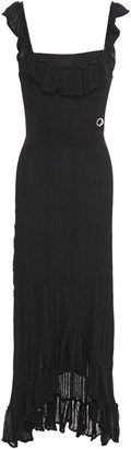 Just Cavalli Asymmetric Ruffled Ribbed-knit Midi Dress