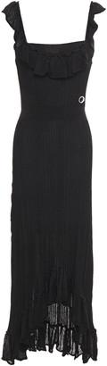 Just Cavalli Ruffled Ribbed-knit Midi Dress