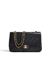 Vintage Heirloom Black Leather Quilted Chanel Classic 2.55 Flap Bag
