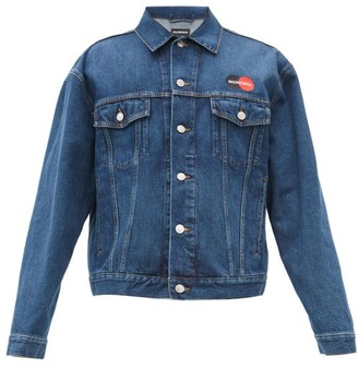 Balenciaga Logo-embroidered Denim Jacket - Mens - Blue