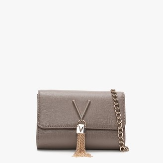 Valentino By Mario Valentino Divina Taupe Pebbled Shoulder Bag