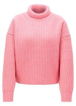 BOSS High-neck sweater in virgin wool with cashmere