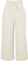 Mara Hoffman Cropped Striped Basketweave Cotton-blend Wide-leg Pants - Cream