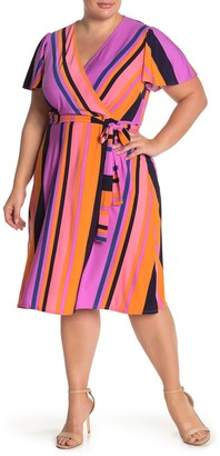 Donna Morgan Striped Flutter Sleeve Faux Wrap Dress (Plus Size)
