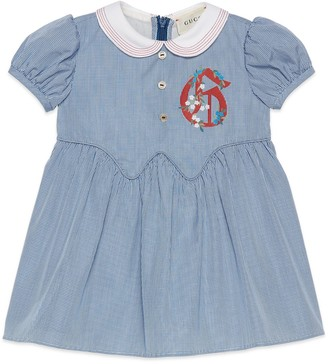 Gucci Baby cotton gingham dress withG