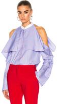 Rosetta Getty Striped Poplin Fold-Over Shirt in Blue,Stripes.