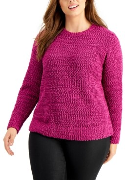 Style&Co. Style & Co Plus Size Teddy Boucle Sweater, Created For Macy's