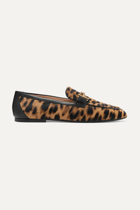 Tod's Embellished Leather-trimmed Leopard-print Calf-hair Loafers - Leopard print
