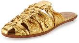 The Row Capri Woven Snakeskin Mule Slide, Gold