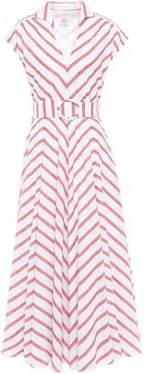 Gül Hürgel Belted Striped Cotton And Linen-blend Gauze Midi Dress