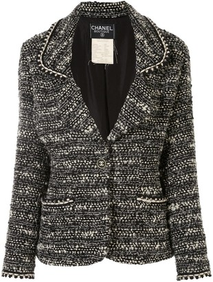 Chanel Pre Owned 1994s CC button single-breasted long sleeve tweed jacket
