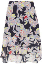 See by Chloe Ruffled Floral-print Silk-crepe Skirt - Storm blue