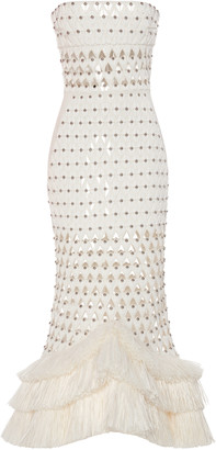 David Koma Strapless Fringe-Trimmed Crepe Dress