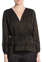 Derek Lam 10 Crosby Striped Ruffle Blouse
