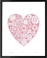 Lu West - Flower Heart Print in Rose Quartz