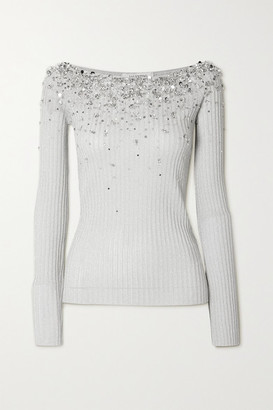 Valentino Embellished Metallic Ribbed-knit Top - Silver