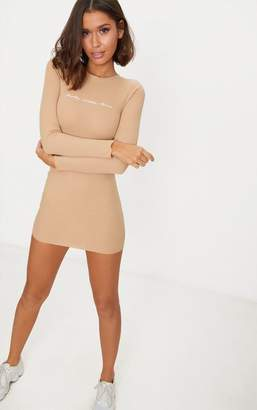 PrettyLittleThing Stone Embroidered Ribbed Bodycon Dress