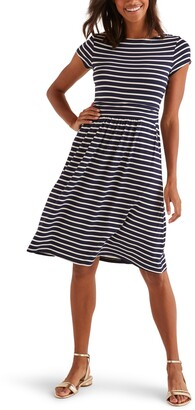 Boden Amelie Stripe Short Sleeve Jersey Dress