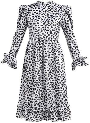 Batsheva Dalmation Print Textured Velvet Dress - Womens - Black Multi
