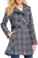 GUESS Double Breasted Plaid Stand Collar Fit-And-Flare Wool Coat