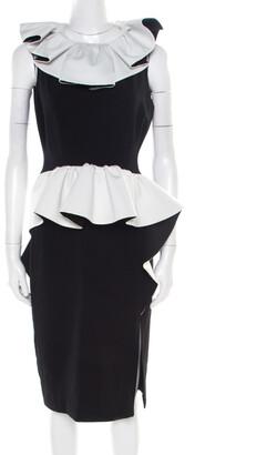 Moschino Monochrome Crepe Ruffled Trim Sleeveless Midi Dress M