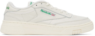 Reebok Classics Off-White and Green Club C Stacked Sneakers