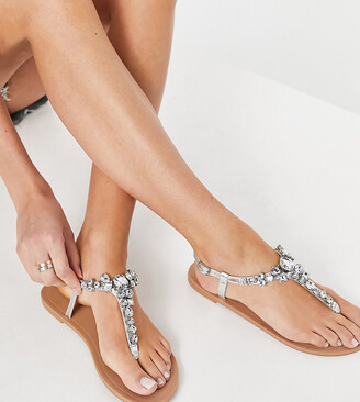 ASOS DESIGN Wide Fit Faraway embellished T-bar flat sandals in silver