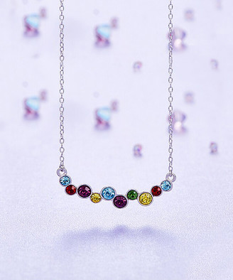 Swarovski Golden Nyc Golden NYC Women's Necklaces 18K - Rainbow & Silvertone Bubble Necklace With Crystals