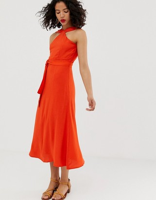 Vero Moda high neck tie waist maxi dress-Orange