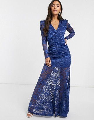 Forever U sheer lace maxi dress in navy