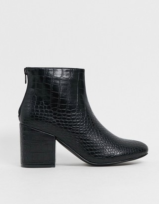 Truffle Collection mid heeled ankle boot in black croc