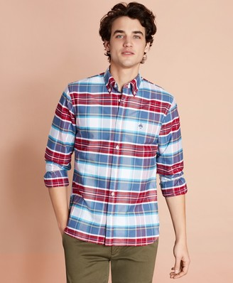 Brooks Brothers Plaid Cotton Oxford Sport Shirt