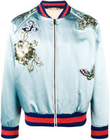 Gucci bird embroidered bomber jacket