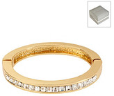 Kenneth Cole Crystal Square Hinged Goldtone Bangle Bracelet in a Gift Box
