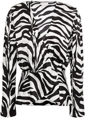 Ronny Kobo Wrap-effect Zebra-print Satin Blouse