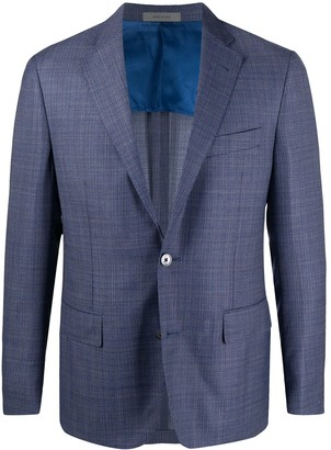Corneliani Tartan-Pattern Single-Breasted Blazer