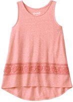 Mudd Girls 7-16 & Plus Size High-Low Crochet Tank Top