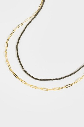 francesca's Britte Layered Chain Beaded Necklace - Black
