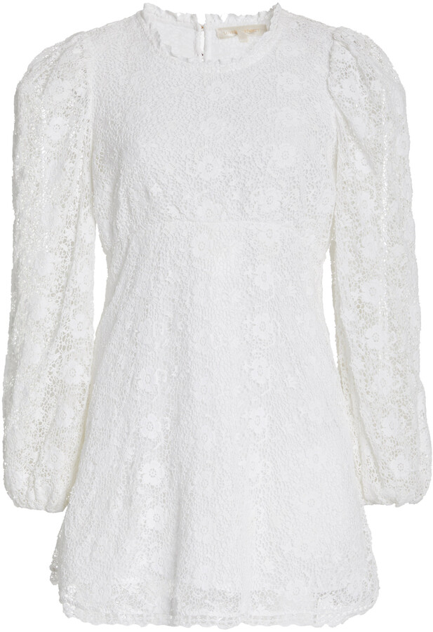 Thumbnail for your product : LoveShackFancy Women's Leira Lace Mini Dress - White - Moda Operandi