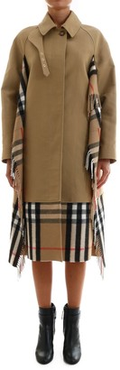 Burberry Checked Scarf Detail Car Coat