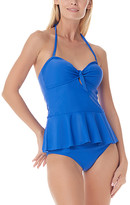 Sea and Sand Women's Bikini Bottoms - Periwinkle Peplum Halter Tankini Top & Bottoms - Women