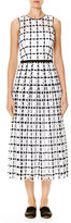 Carolina Herrera Sleeveless Grid-Embroidered Midi Dress, Black/White