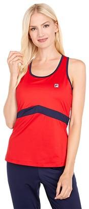 Fila Heritage Tennis Racerback Tank Top (Chinese Red/Navy) Women's Sleeveless
