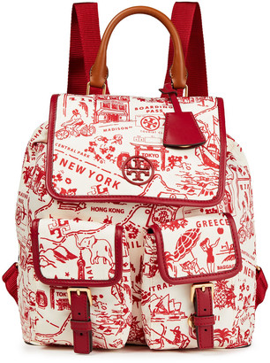 Tory Burch Leather-trimmed Printed Shell Backpack