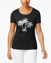 Karen Scott Palm Tree Graphic Cotton Top, Created for Macy's