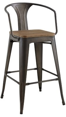 "17 Stories Gussie Promenade 30"" Bar Stool Color: Brown"