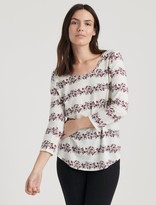 Lucky Brand Floral Stripe Scoop Tee