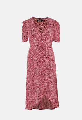 Missguided Plus Size Red Sprinkle Wrap Puff Midi Dress