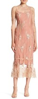 ABS by Allen Schwartz Sheer Embroidered Lace Gown